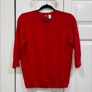 Nordstrom BP 3/4 Sleeve Red Cardigan size XL EUC